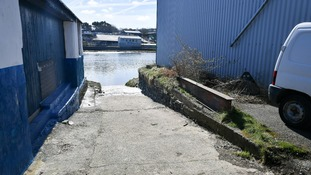 A slipway by the River Teifi in Cardigan, Wales, near the scene where two-year-old Kiara Moore was recovered from a car that had plunged into the river.