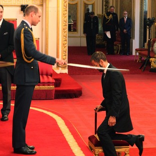 Beatle Sir Richard Starkey, also known as Ringo Starr, is made a Knight Bachelor of the British Empire by the Duke of Cambridge at Buckingham Palace