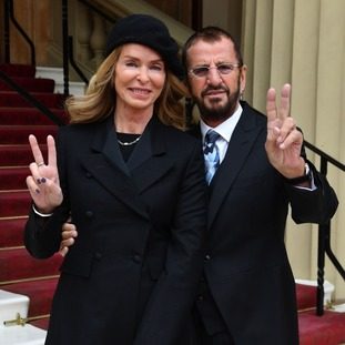 Sir Richard Starkey, also known as Ringo Starr, with wife Barbara Bach, as they arrived at Buckingham Palace