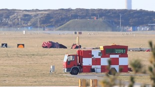 An engineer has died after a jet crashed at a RAF Valley airbase earlier this afternoon.