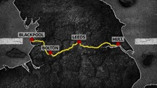The pothole road trip route taken by ITV News Consumer Editor Chris Choi