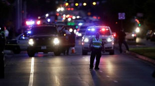Emergency services at the site of one of the explosions in Austin, Texas on Tuesday