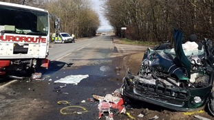 The car and recovery vehicle collided on the A7 near Longtown