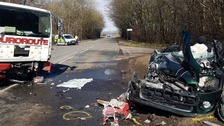 Driver seriously injured in collision on main A7 road