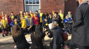 Children from Hadrian School in Newcastle performed at the opening.