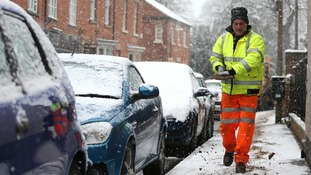 A council workers grit the pavements around Bingham, Nottinghamshire