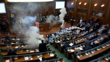 Kosovo parliament evacuated over tear gas stunt