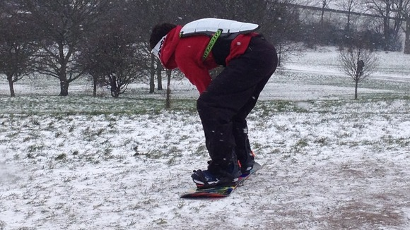 Snowboarding on Primrose Hill