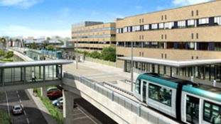 The new viaduct and tram stop at the Queen's Medical Centre (QMC),