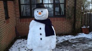 Snowman in Cubley, Derbyshire