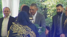 Former US President Barack Obama does traditional maori greeting