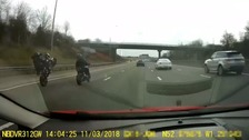 Bikers caught on dash cam doing wheelies down the M1