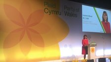 Leanne Wood at Plaid's conference in Llangollen