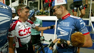Tyler Hamilton and Lance Armstrong pictured together in 2003.
