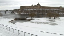 The Narva River separates Estonia and Russia.
