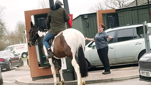 Horse rider told 'neigh chance' at drive through