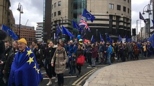 Thousands march through Leeds city centre in anti-Brexit rally