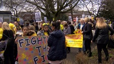 Hundreds of parents marched through Salford over nursery closures