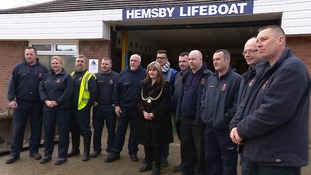 The Mayor of Great Yarmouth thank members of Hemsby Lifeboat Crew for their help with the evacuation of local people