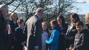 Prince Charles meeting school children from Langwathby C of E Primary School