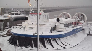 Ferry in snow, Isle of Wight
