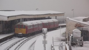 Train in snow Isle of Wight