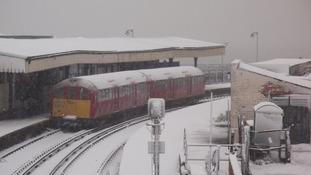 Train in snow Isle of Wight
