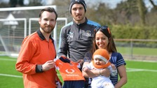 Luton Town striker Danny Hylton (centre) with 8 month old Beatrix and parents Robin and Clare Meynell-Mendes