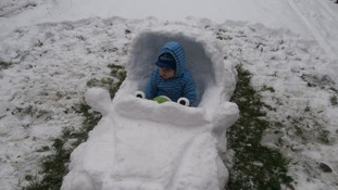 Mike Nash's grandson Vinni in his snow mobile