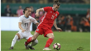 Gareth Bale in action against Uruguay