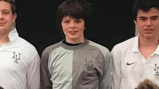 Nick played in goal for his school team in Ely.