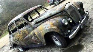 The torched car