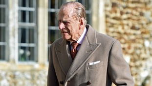 The Duke of Edinburgh attends a church service in Norfolk in February.