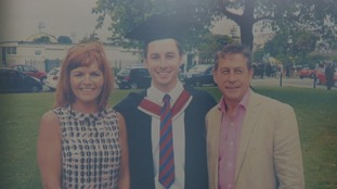 Ben Rees, centre, pictured with his mother Nadia and father Huw at his graduation from Swansea University