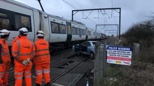 Car struck by train at Waterbeach