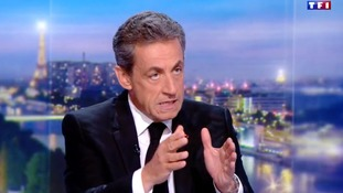 Former French president Nicolas Sarkozy is interviewed by on the '20 Heures' news bulletin on TF1 channel in France.