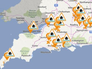 Flood alerts issued for Bristol and south Cornwall coast.