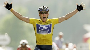 Armstrong winning the 17th stage of the Tour de France from Bourd-d'Oisans to Le Grand Bornand in 2004