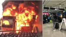 The bus blaze (left) and queues of people trying to leave the terminal last night