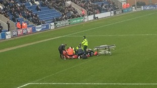 Luke Berry: Players sent to changing rooms after Luton Town player suffers horror injury