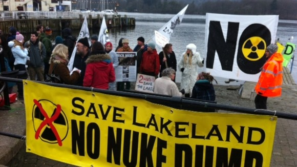 Protestors at Bowness-on-Windermere