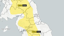 Heavy rain pushes north on Monday with strong winds.  Snow settling above 250m