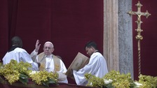 Pope Francis delivers the 'Urbi et Orbi' (to the city and the world) Easter message.