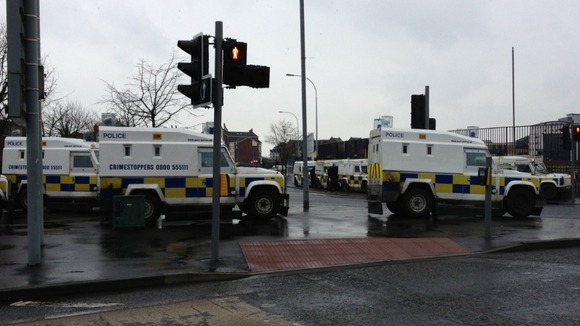 Police vehicles on standby in Belfast