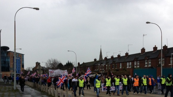 Approximately 600 protesters marching from East Belfast towards the centre of town.