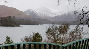 Causey Pike and Derwentwater from Calfs Close Bay.