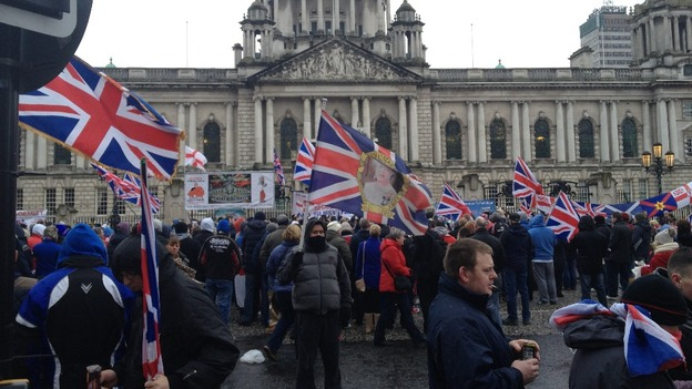 A crowd of protesters outside Belfast City Hall
