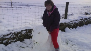 Jade Owen and her snow sheep