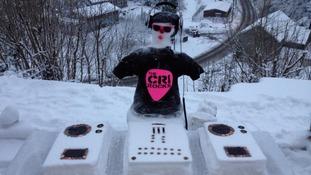 A snowman DJ