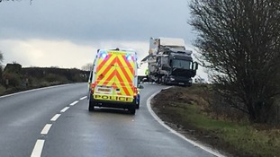The scene of the crash on the A66